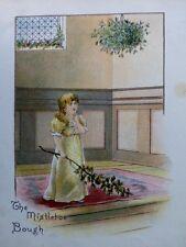 """1896 imprimir """"pequeño Merry Makers"""" Constanza Haslewood-muérdago Rama-Navidad"""