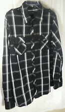 Eighty Eighty Platinum Mens XL Button-Front Shirt L/S Black/White RN89970 Cotton