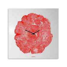 dESIGNoBJECT Orologio da muro Life laccato rosso 50x50 Made in Italy