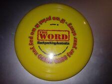 "Vintage 2000s The Word Backpacking Australia Plastic Mini Yellow Frisbee - 5.5"""