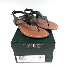 LAUREN by Ralph Lauren Womens Patsi Black Leather T-Strap Thong Sandals 7.5 B