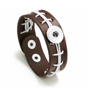 Snap Jewelry Brown Leather Football Bracelet fits 18-20mm Ginger Accessories New