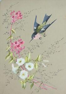 Drawing on Cardboard From 1913: Small Bird (Kolibri?) 24x18 CM Inscription