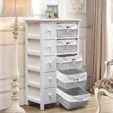 White Chest Of Drawer Bedroom Storage Cabinet Dressng Table 5 Drawer Baskets NEW