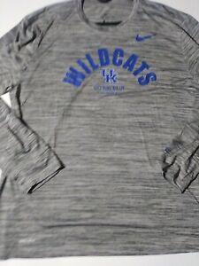 Size XL Nike NCAA Kentucky Wildcats Dri Fit Long Sleeve Shirt Gray Style CT7523