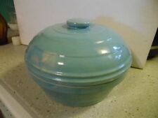 Antique Blue enamelware Stoneware bean or casserole bowl with lid- Marked USA