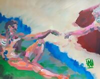 Creation of Adam Abstract Realism Rework Palette Knife Art Painting Michelangelo