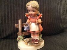 VINTAGE ERICH STAUFFER  GIRL WITH WATERING CAN  CERAMIC FIGURINE #9218