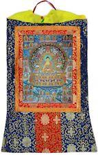 Thangka Shakyamuni Buddha Gautama Kunstdruck Mandala Brokatrahmen 63 x 105 cm