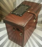 BROWN LEATHER MYSTERIOUS JEWELLERY VINTAGE BOX, 1960 CUTE CASE LEATHER STRAPS