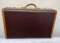"""Vintage Hard Shell Suitcase Luggage 21""""x 13""""x 6.5"""" Brown W/Brass Hardware"""