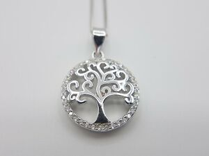 Genuine Sterling Silver Tree of Life Round Circle Pendant Necklace Italian Chain