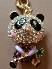 Hot Betsey Johnson Cute Blue Panda Bamboo Crystal Pendant Sweater Necklace SALE