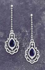 7Ct Pear Cut Blue Sapphire Synt Diamond Tear Drop Earrings White Gold Fns Silver