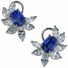 Stunning Platinum GIA Unheated Madagascar Sapphire And Diamond Earrings