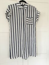 Ladies F&F Blue And White Striped Shirt Dress Size 10.