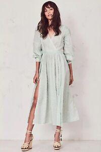NWT LoveShackFancy Leah Ditsy Floral Dress, Mineral Green, XS