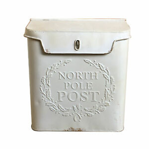 Handmade Metal 'North Pole Post' White Letter Box, Ideal as Christmas Decoration