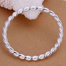 Fashion 925Sterling Solid Silver Jewelry Twist Circle Bangles Bracelet K148