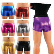 Childrens Girls Metallic PVC Shiny Wet Look Pants Gym Dance Shorts Party Wear