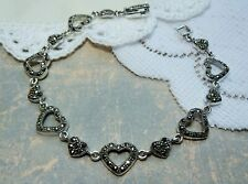 My S Collection 925 Sterling Silver & Marcasite Heart Bracelet