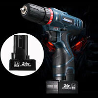 Electric Cordless Drill Screwdriver 2 Speed Power Tools w/ 24V Li-lon Battery