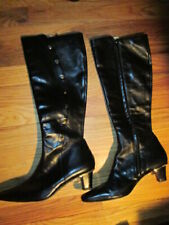 CHARLES JOURDAN Black Leather Knee High Boots Size 8 Made in France
