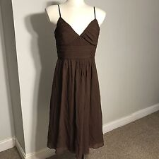 Women's MAX AND CLEO Brown Empire Waist 100% Silk Dress Size 10