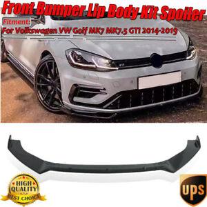 Front Bumper Lip Spoiler Splitter For Volkswagen Golf MK7 MK7.5 MK6 GTI R 14-19