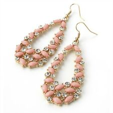 Ladies Gold Colour Crystal and Pink Bead Oval Earring.