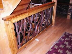 Rustic Railings Stair Porch Interior Exterior Primitive Log Cabin Art Furniture