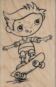 """""""Skateboard Kiddo"""" Rubber Stamp by Stampendous"""