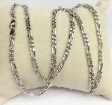 "18k Solid White Gold Figaro Chain/Necklace Dimond Cut. 22"". 10.08 Grams"