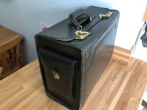 Vintage FRANZEN Black Leather Pilots Crew Flight Bag Briefcase Case Suitcase