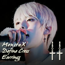 MONSTA X Define Silver Cross Earrings KPOP Style Hot Item Made In Korea 1Pair