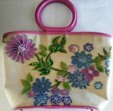 Isabella Fiore Pink Beaded Floral Canvas Tote Beach Bag