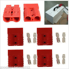 4 Pcs Battery Quick Disconnect 50A 6AWG Winch Trailer Plug Connect Connector Red