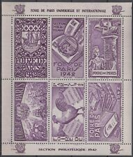 France Paris Fair 1942, Vignette, Sailing Ship, Stamp Collecting, Cock, Violet