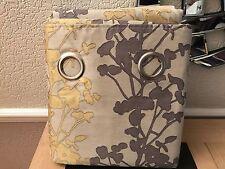 next silhoutte stem eyelet curtains ochre yellow grey natural 168 x183cm