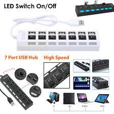 7 Port USB Hub Hi-Speed Data Transfer Splitter PC Laptop Tablets Black White