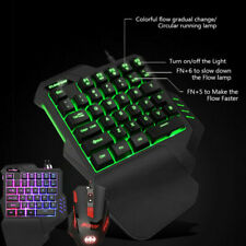 USB One-hand Keyboard 35keys RGB LED Wired Gaming Keyboard for PS4/Xbox/PC