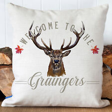 More details for personalised stag cushion cover country family name welcome pillow gift kc88