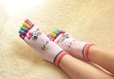 Women Lady Girls Cute Cartoon Five Fingers Trainer Toe Ankle Yoga Sport Socks