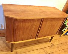Mid Century Sideboard Tambour Vintage Teak Record Cabinet TV Retro Sliding Doors