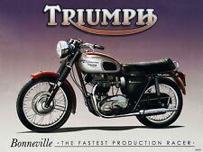Triumph Bonneville The Fastest Production Racer Motorcycle Metal Sign