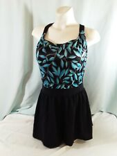 Maxine of Hollywood black and blue floral one piece swimsuit with skirt size 16