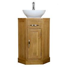 Solid Oak Corner Vanity Unit Basin Sink Tap | Cloakroom Bathroom Furniture 515
