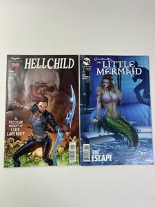Lot 2 Zenescope Comics Cover A the Little Mermaid #4 RARE & Hellchild #1 of 5