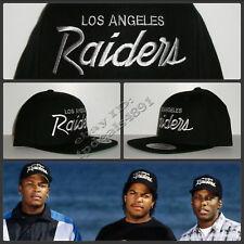 Vintage Replica LA Los Angeles Raiders Script Cap Hat Snapback Black NWA EAZY E