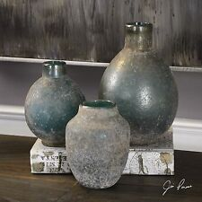 THREE NEW TUSCAN ANTIQUED GLASS DECORATIVE BOTTLES VASES BLUE GREEN IVORY GLAZE